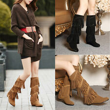 Womens Comfy Wedhe Heels Knee High Boots Fashion Tassel Suede Mid-calf Boots
