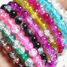 New 20/50/100X Crystal Crack Glass Loose Spacer Bead 6/8/10/12mm 16Colors Pick