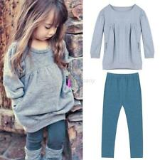 Kids Baby Girls Long Sleeve Sweater Tops + Long Pants Trousers Set 2PCS Outfit