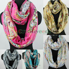 Womens Fashion Scarf Colorful Paisey Floral Print Ladies Long/Infinity Scarf New