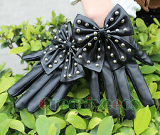 Bowknot Rivets Punk Dancing Performance Leather Gloves Studded Full Finger New