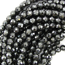 "Faceted Hematite Round Beads 15.5"" Strand 2mm 3mm 4mm 6mm 8mm 10mm 12mm 14mm"