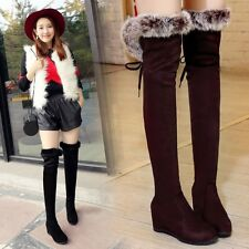 Womens Over The Knee Boots Fur Trim Wedge Heels High Leg Boots Knee High Boots