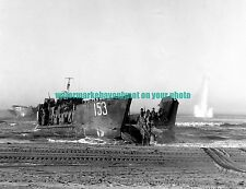 USS LCT-153 Black n White Photo Navy Military WW2 Sicily Invasion 1943 War