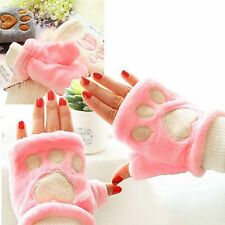 1 Pair Cute Claw Paw Gloves Mittens Half Finger Warm Winter Lady Women Girl