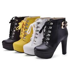 HOT Womens High Heel Ankle Boots Platform Popular Shoes UK Size GDXS2890