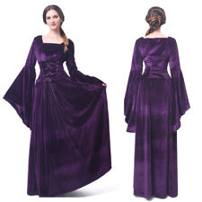 Women Velvet Medieval Renaissance Dress Long Celtic Queen Gown Cosplay Costume