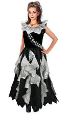GIRLS ZOMBIE GHOST PROM QUEEN COSTUME FANCY DRESS OUTFIT LONG BLACK GREY 8-10-13