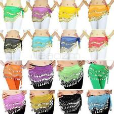Leadzm 3 Rows Belly Dance dancing Hip Skirt Scarf Wrap Belt Hipscarf + 128 Coins