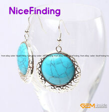 34mm Coin Stone Dangle Hook Vintage Earrings Silver Plated Fashion Jewelry Gifts