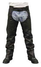 Redline Men's Classic Black Naked Leather Motorcycle Fully Lined Chaps M-1750