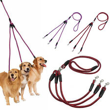 Hot Fashion 3Way Dog Coupler Leash No-Tangle Nylon Pet Leash Double For Walking