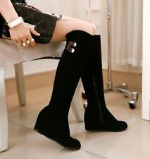 Grace Womens Knee High Boots Hidden Wedge Faux Suede Pull on Warm Shoes Black Sz