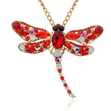Women Fashion Dragonfly Crystal Brooch Rhinestone Scarf Pin Jewelry Bluelans