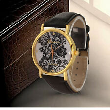 Women Ladies Casual Leather Band Lace Printed Analog Wristwatch Watches