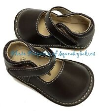 Squeaky Shoes Toddler Brown Leather Classic Plain Mary Jane white stitching sz 3