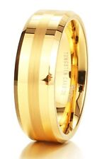 Mens 8mm Matte/Brushed Finish Center Tungsten Carbide Ring 24K Gold Plated Poli