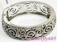 Brighton SHIRAZ Silver Crystal Hinged Bangle Bracelet - NWT $88