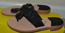 NEW Jack Rogers Sandal Sandals Shoes Flats Thong Leather Black Glitter 6