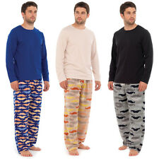 Mens Moustache PJ Print Fleece Pyjamas Sets Night Wear PJ's 2 Piece Winter Warm