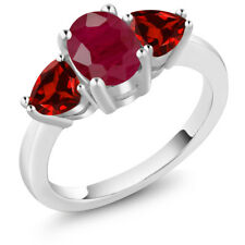 2.68 Ct Oval Red Ruby Red Garnet 18K White Gold Ring