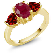 2.68 Ct Oval Red Ruby Red Garnet 18K Yellow Gold Plated Silver Ring