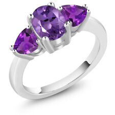 1.80 Ct Oval Purple Amethyst 925 Sterling Silver Ring