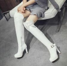 New Womens Knee High Boots Stilettos High Heels  Lace Pleated Zip Buckle Shoes