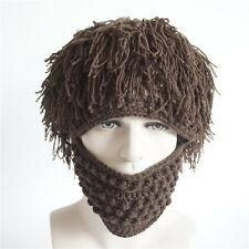 Halloween Funny Mens Wig Knitted Fake Beard Winter Hat Hobo Beanie