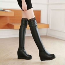 New Womens Lace Pull On Platform Riding Wedge High Heels Over Knee Thigh Boots
