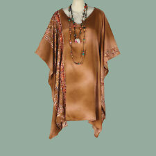 NEW BEAUTIFUL BROWN FLORAL SATIN CAFTAN TUNIC PONCHO TOP PLUS SIZE 4X 5X 6X