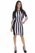 121AVENUE Sexy Printed Form Fitting Dress S L Small Large Women White Clubwear