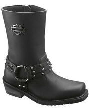 Harley-Davidson Womens Rosa Black Leather Mid Cut Motorcycle Riding Boots 87019