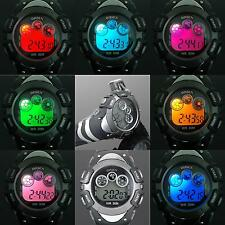 New Flash Color LED Day Date Quart Digital Unisex Womens Mens Wrist Watch X70