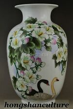 CHINA COLLECTIBLE DECOR HANDWORK OLD PORCELAIN COLORED DRAWING FLOWER SWAN VASE