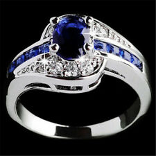 New Fashion Blue Sapphire Filled Engagement Ring Jewelry Women Lady White