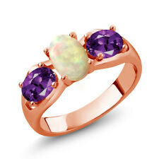 1.21 Ct Oval Cabochon White Ethiopian Opal Purple Amethyst 14K Rose Gold Ring