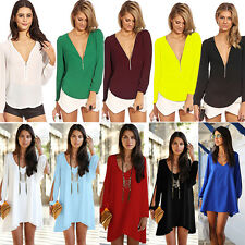 Sexy Womens Ladies Chiffon V Neck Long Sleeve Casual Blouse T-shirts Shirt Tops
