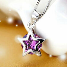 Fashion Women's 925 Silver Chain Crystal Pentagram Pendant Necklace Jewelry