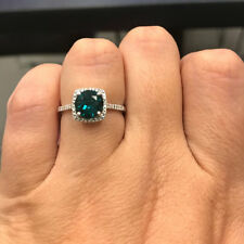 925 Sterling Silver Created Emerald & Halo Diamond Engagement Birthstone Ring