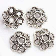 15/30Pcs Mosaic Ring Flower Tibetan Silver Bead Caps Handcrafts Makings 12x6mm