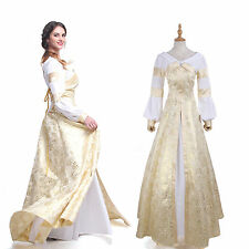 Women Bodice Dress Gown Renaissance Medieval Costume Wedding Wench noble Chemise
