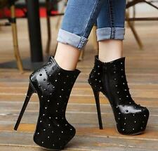 Fashion Sexy Women Platform Punk Stilettos High Heel Rivets Zip Ankle Boot Shoes