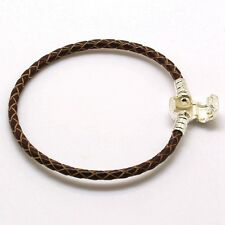 Brown Leather Woman Silver Bracelet bangle chains Fit 925 European Bead charms