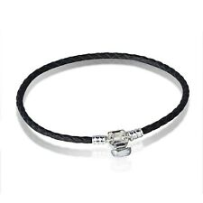 Black Leather Brand Silver Bracelets chains bangle Fit 925 European charms Bead
