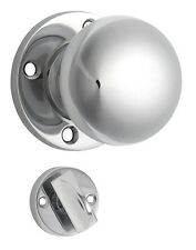 Chrome Plain Privacy Mortice Knob - Will Suit 54mm Pre-Drilled Hole (Pair)