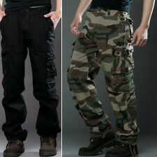 Fashion New Mens Casual Pants Military Army Cargo Camo Combat Work LONG Trousers