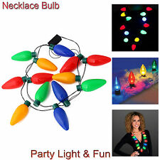 1-20X LED Light Up Flashing Jumbo Christmas Bulb Necklace Lamps Party Favors Fun