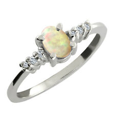 0.39 Ct Oval Cabochon White Ethiopian Opal White Topaz 925 Sterling Silver Ring