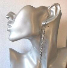 Gorgeous Black Twisted Crystal Long Drop Earrings  - Pierced or Clip-on